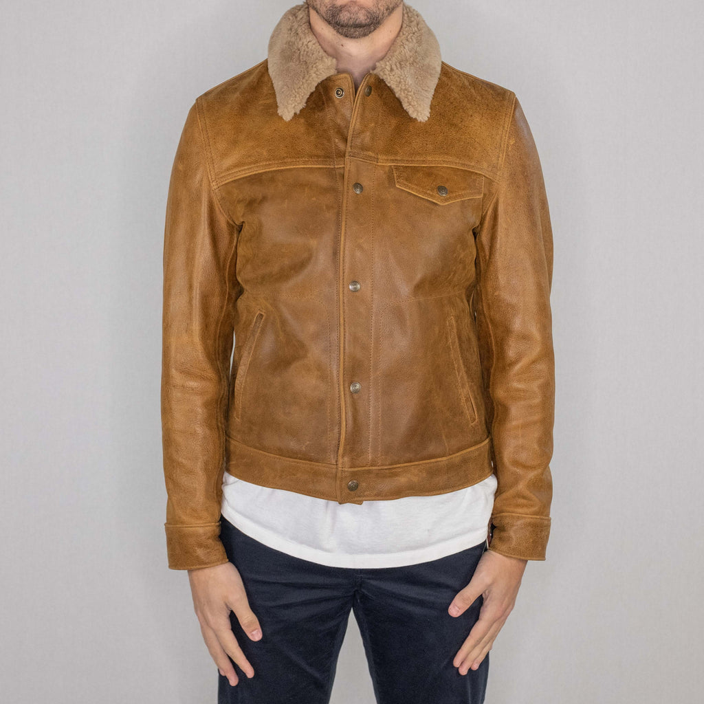 Schott NYC - 545 Men's Waxy Vintage Buffalo Trucker Jacket with Sheepskin Collar Sycamore