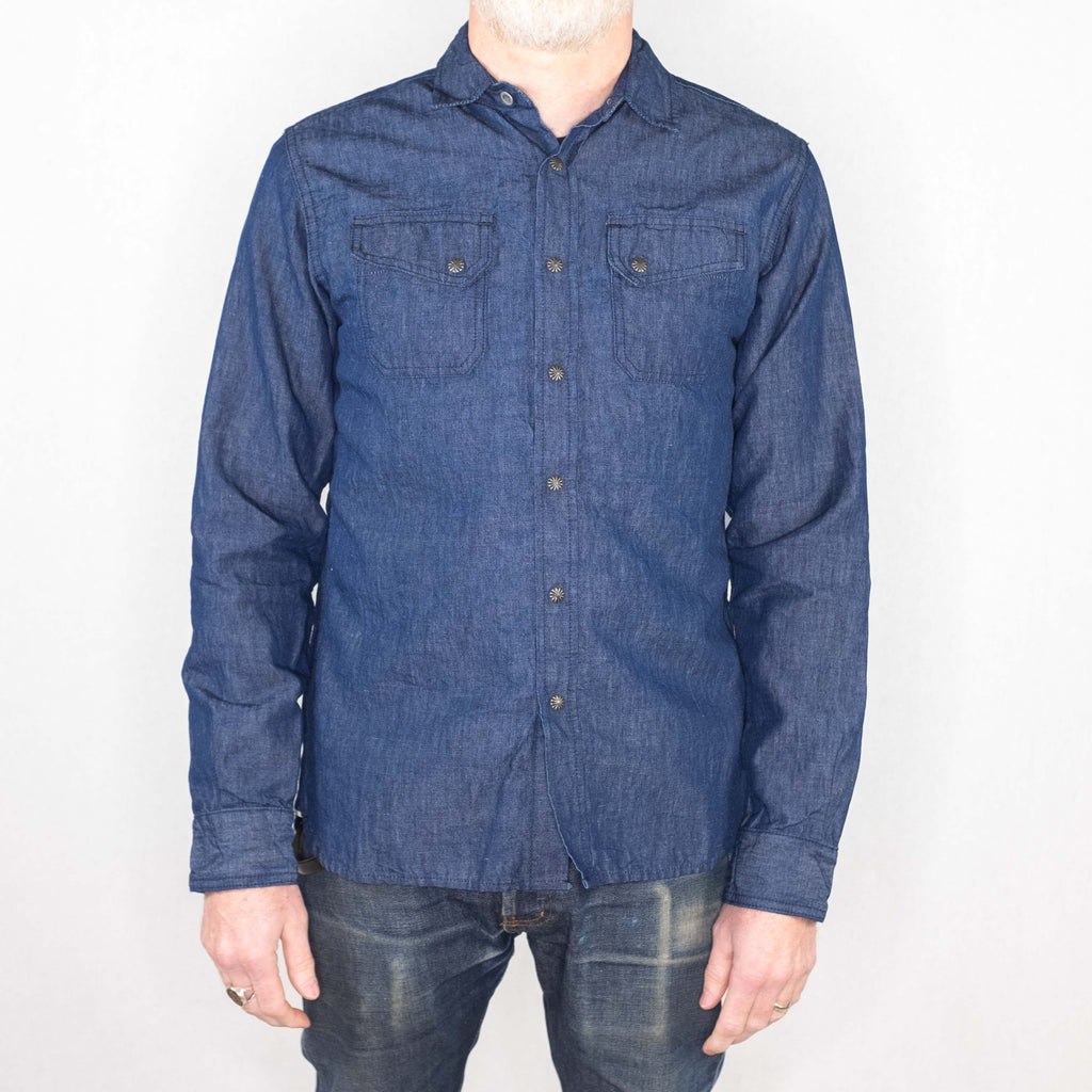 3Sixteen - Crosscut Western Long Sleeve Shirt Linen/Cotton Denim