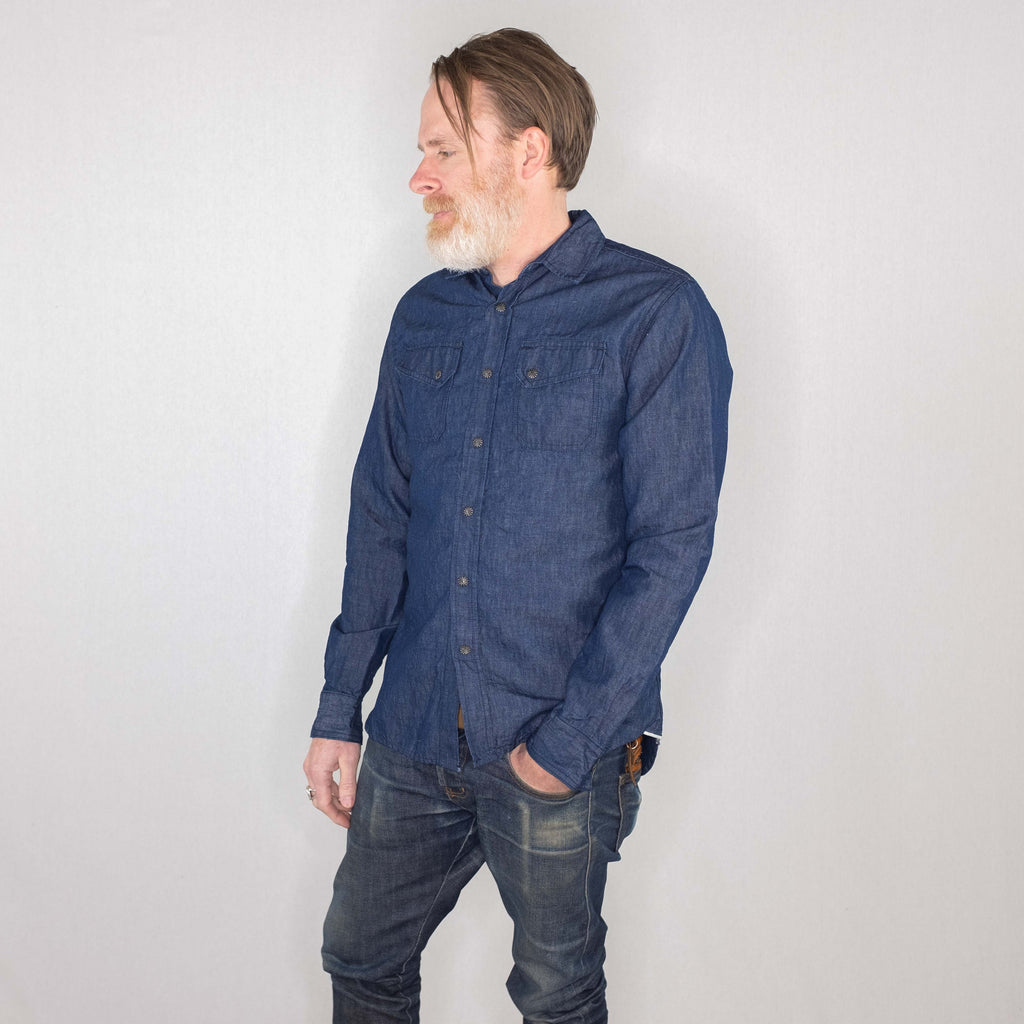 3Sixteen - Crosscut Western Long Sleeve Shirt Linen/Cotton Denim - Foundry Mens Goods