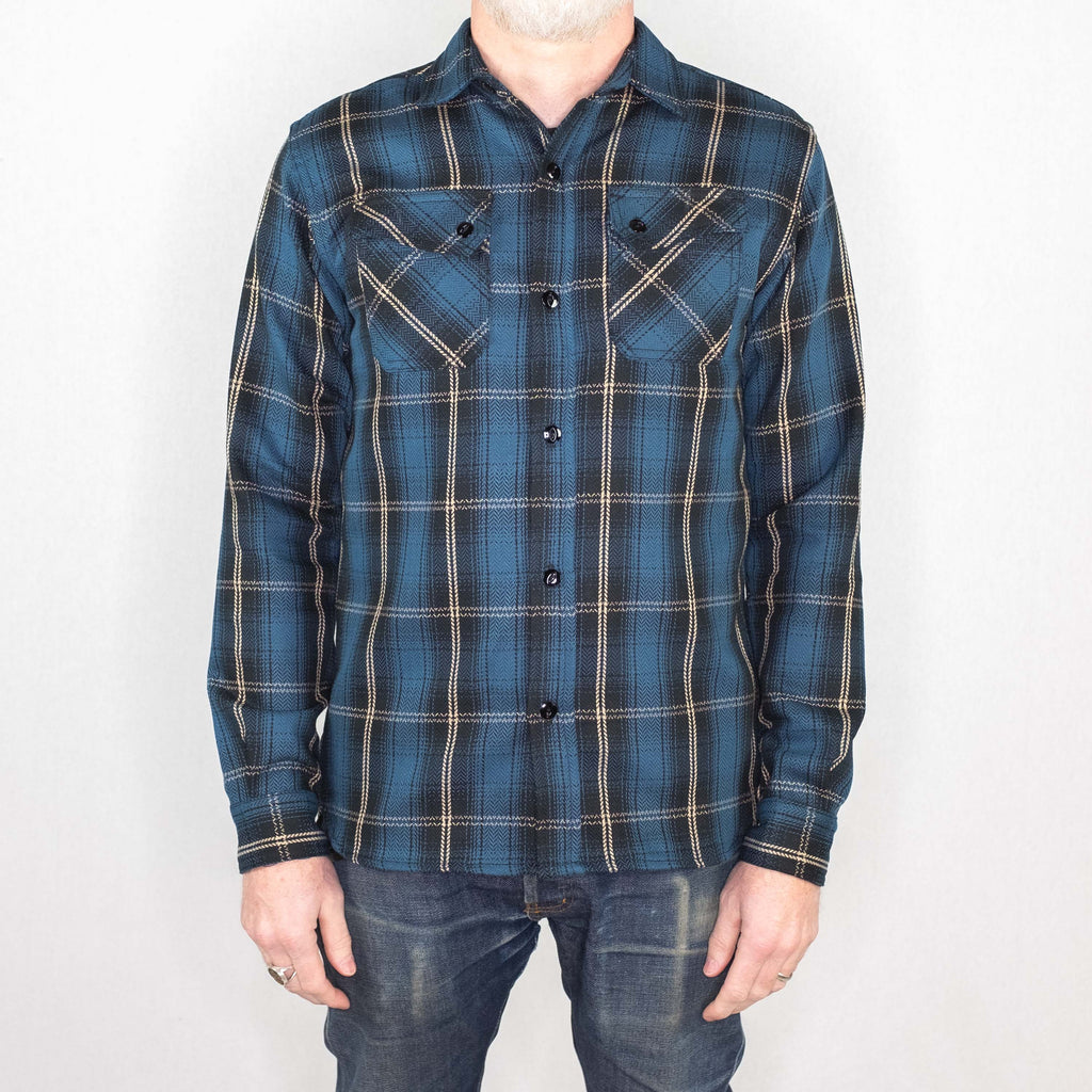 3Sixteen - Crosscut Flannel Long Sleeve Shirt Slate Blue Plaid - Foundry Mens Goods