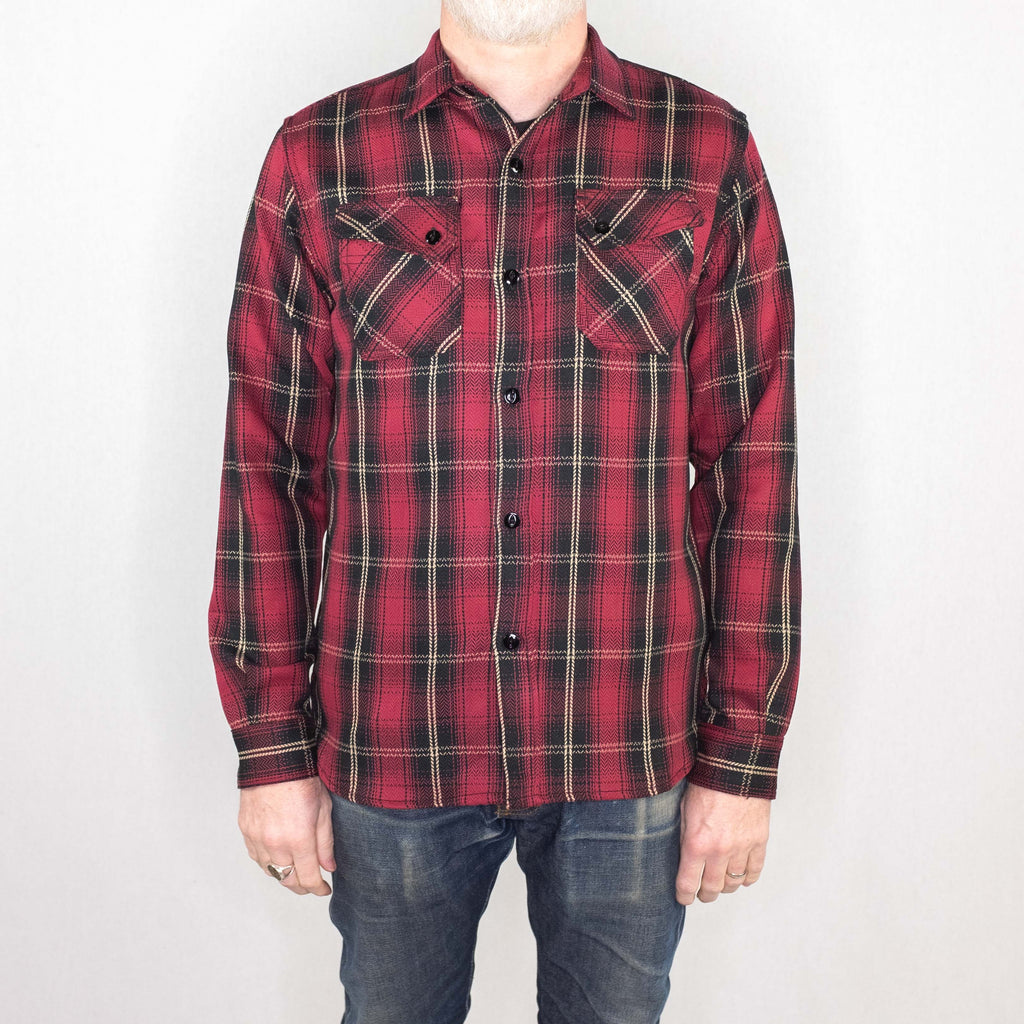 3Sixteen - Crosscut Flannel Long Sleeve Shirt Red Plaid