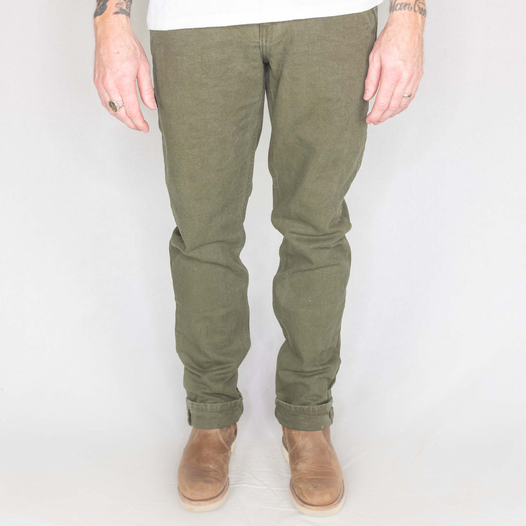Freenote Cloth - Worker Chino Slim Fit 14oz Slub Army Green - Foundry Mens Goods