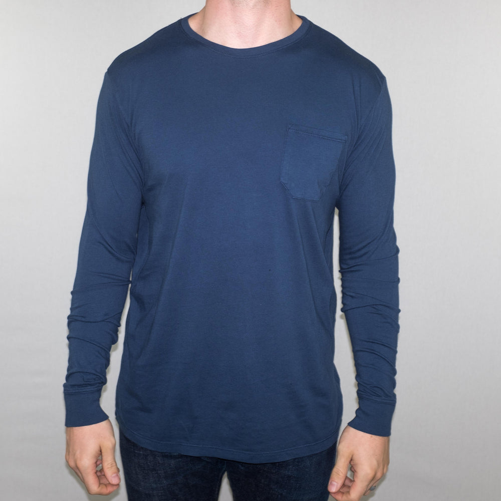 Richer Poorer - Long Sleeve Pocket Tee Navy - Foundry Mens Goods