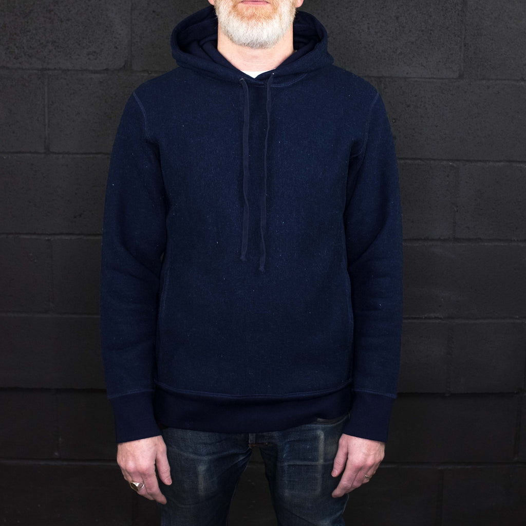 3Sixteen - Heavyweight Pullover Hoodie Indigo Fleece - Foundry Mens Goods