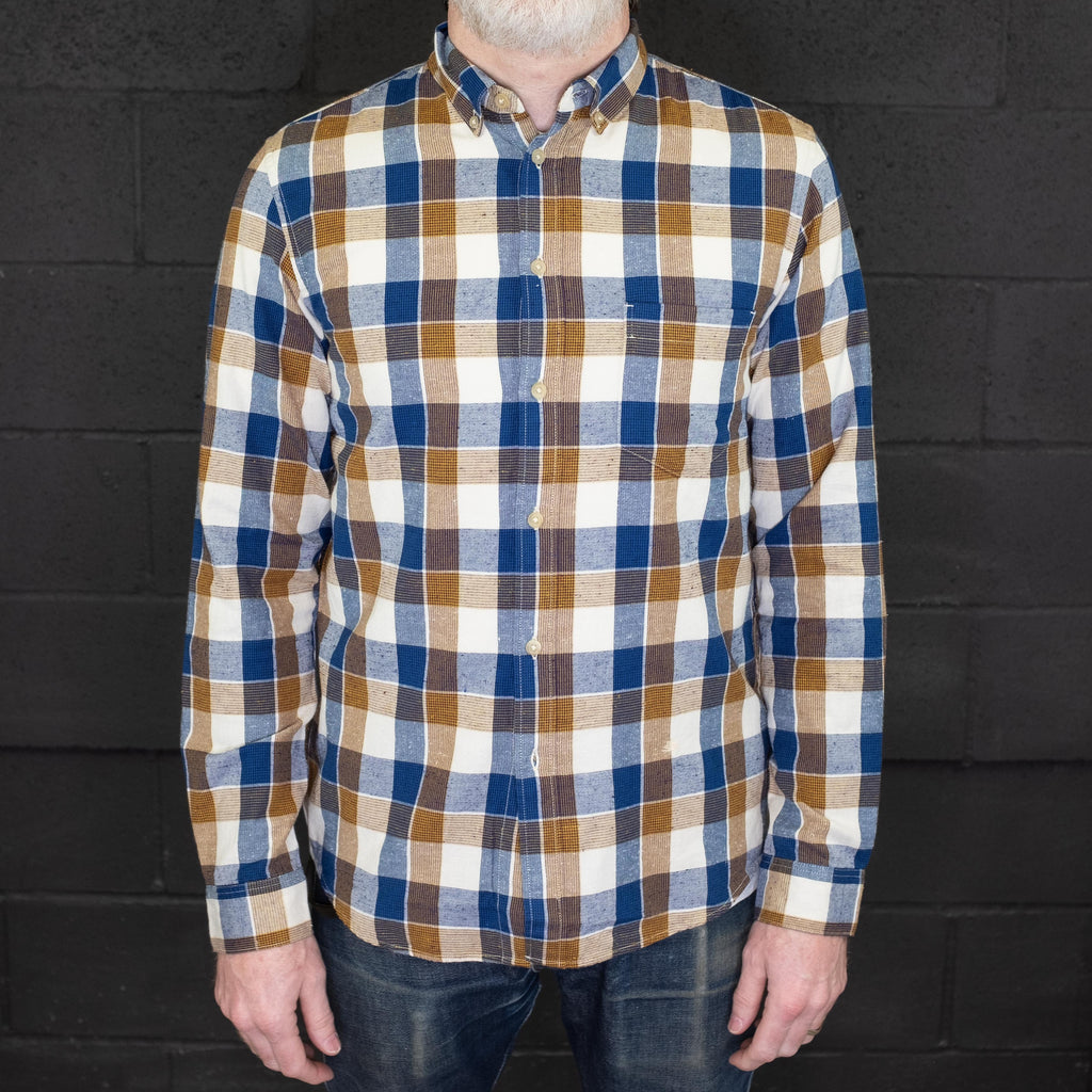 Levi's Made & Crafted - Standard Shirt Navy Brown Neppy - Foundry Mens Goods