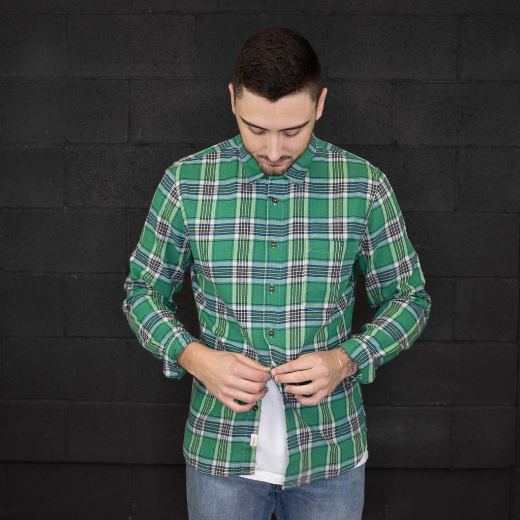 Kato - The Ripper Green Plaid Slim Shirt Vintage Neppy - Foundry Mens Goods