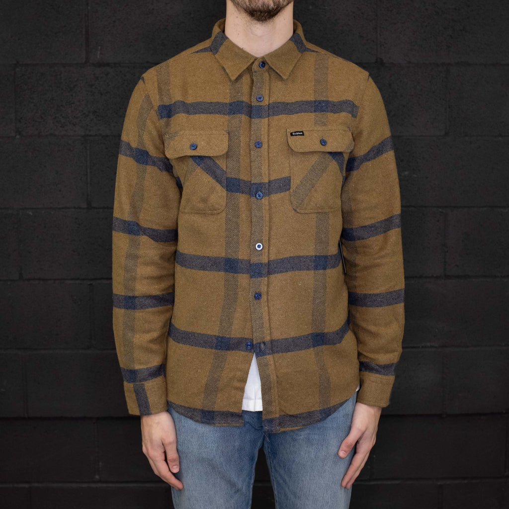 Brixton - Bowery Flannel Long Sleeve Shirt Gold Navy - Foundry Mens Goods