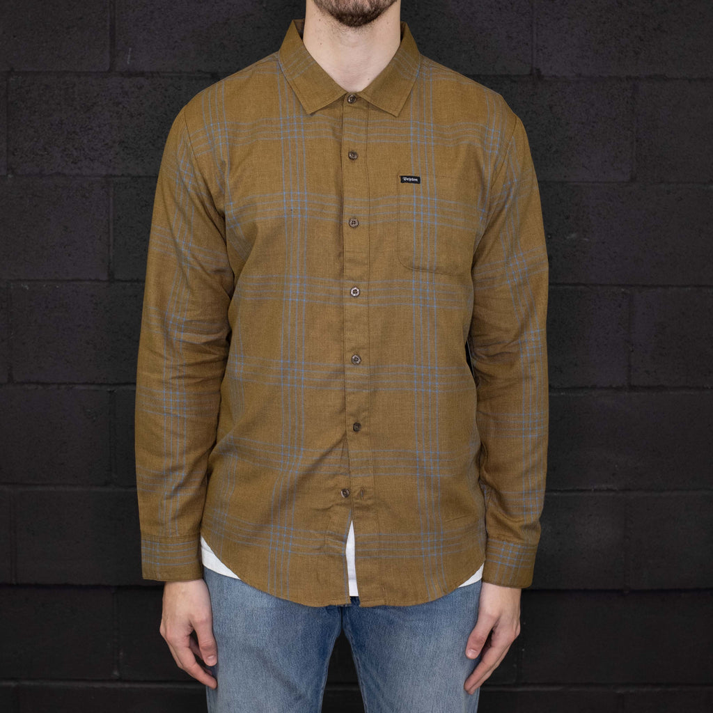 Brixton - Charter Plaid Long Sleeve Woven Olive Aqua - Foundry Mens Goods