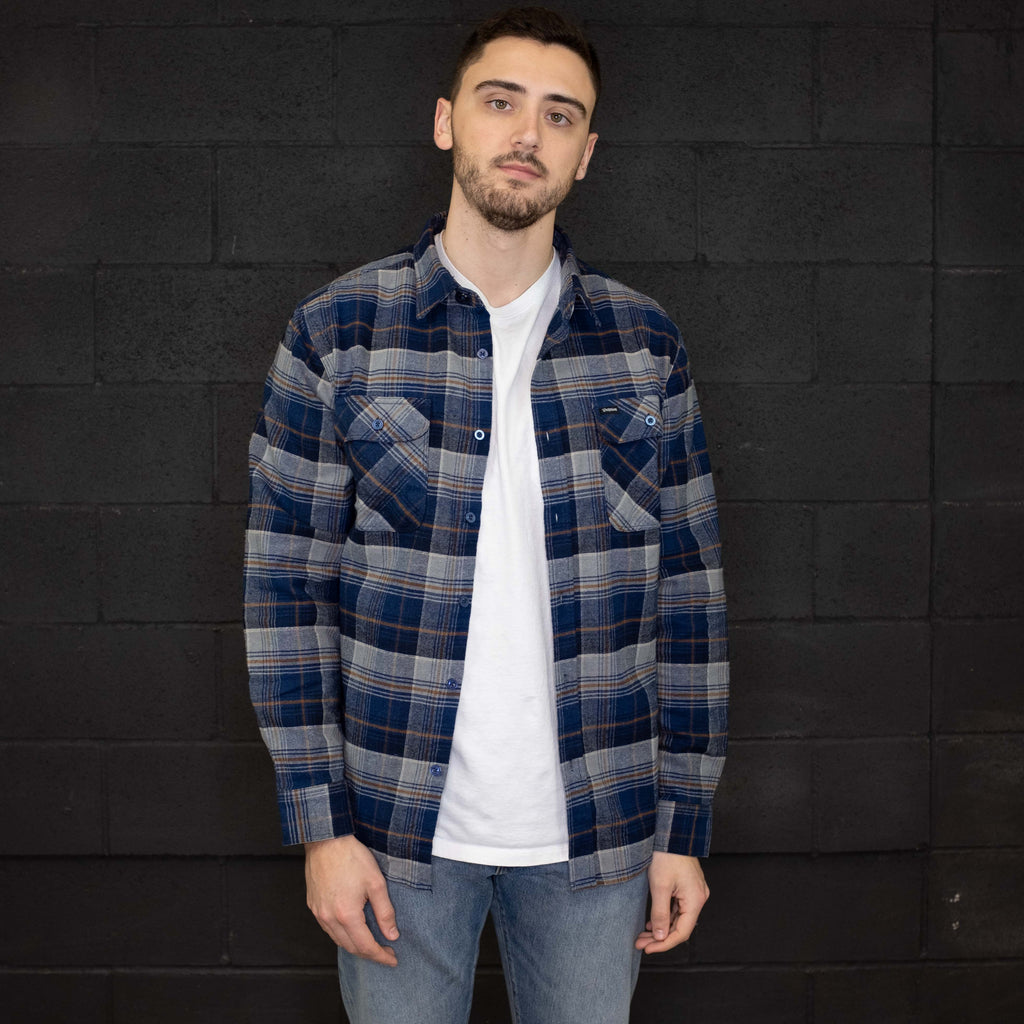 Brixton - Bowery Flannel Long Sleeve Shirt Blue Night - Foundry Mens Goods