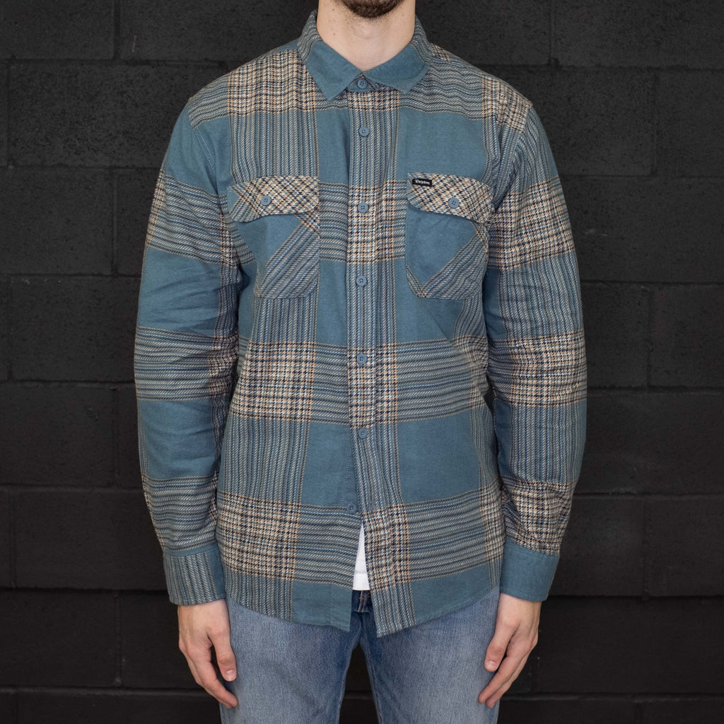 Brixton - Bowery Flannel Long Sleeve Shirt Atlantic - Foundry Mens Goods