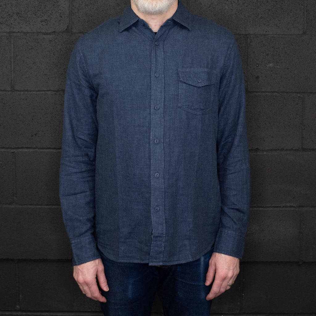 Grayers - Hattox Double Cloth Long Sleeve Shirt Navy Heather - Foundry Mens Goods