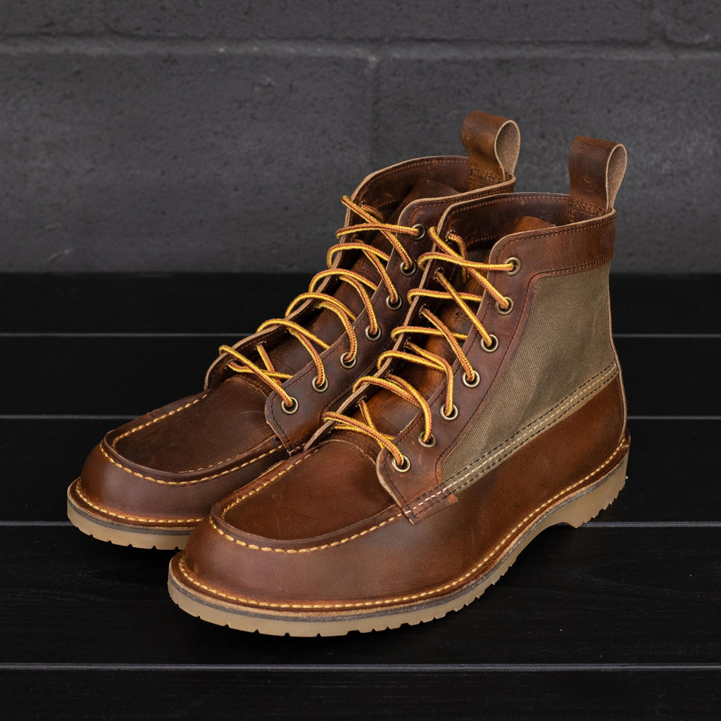 "Red Wing Heritage - 3335 Wacouta Moc 6"" Boot Copper Rough & Tough / Waxed Tan Canvas - Foundry Mens Goods"