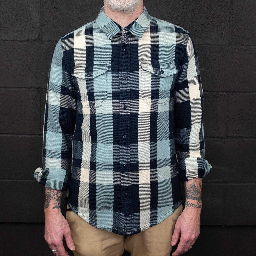 Outerknown - Blanket Shirt Long Sleeve Aqua Desert Plaid - Foundry Mens Goods