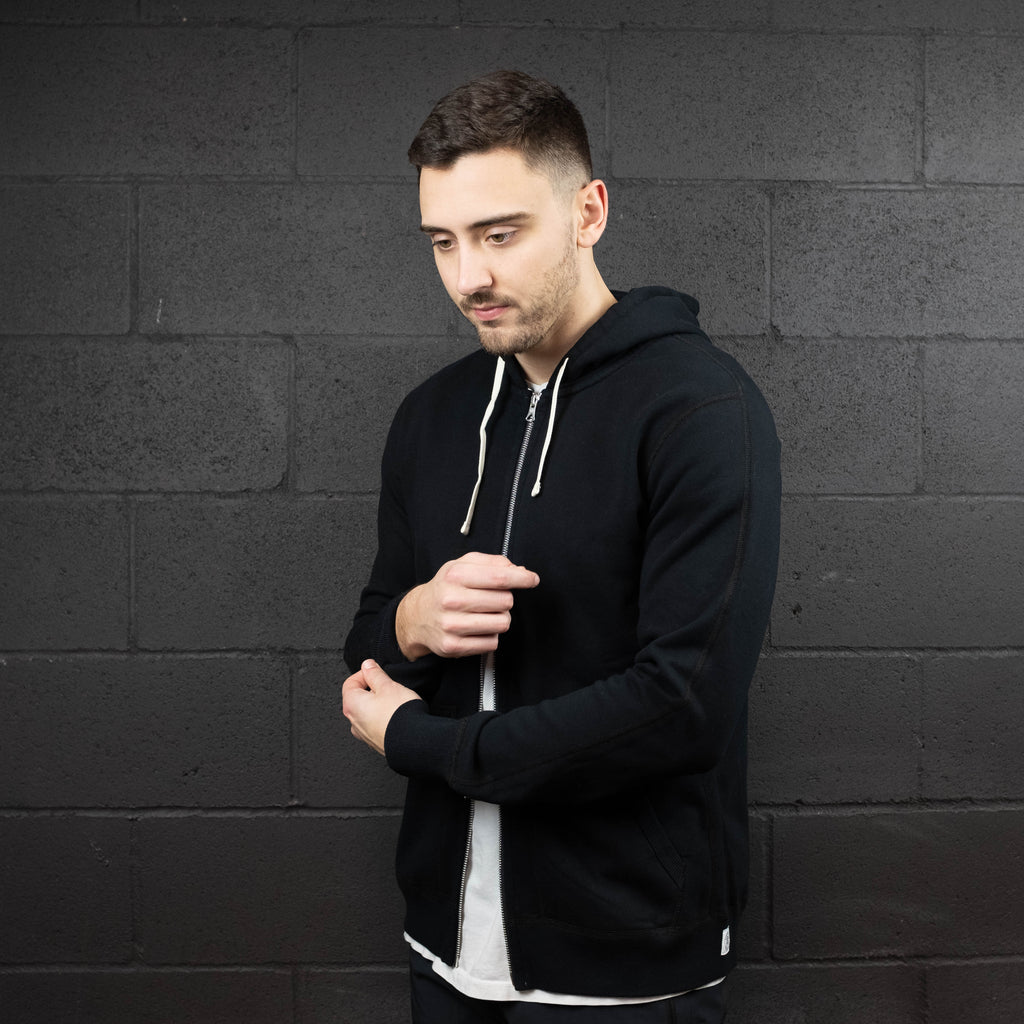 Reigning Champ - Midweight Terry Full Zip Hoodie Black - Foundry Mens Goods