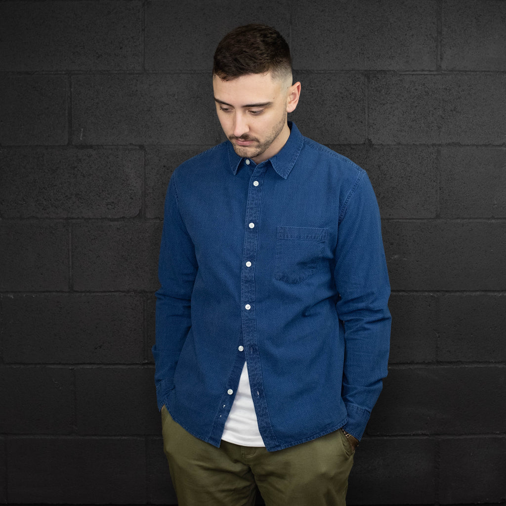 Corridor NYC - Washed Indigo White Pindot Long Sleeve Shirt - Foundry Mens Goods