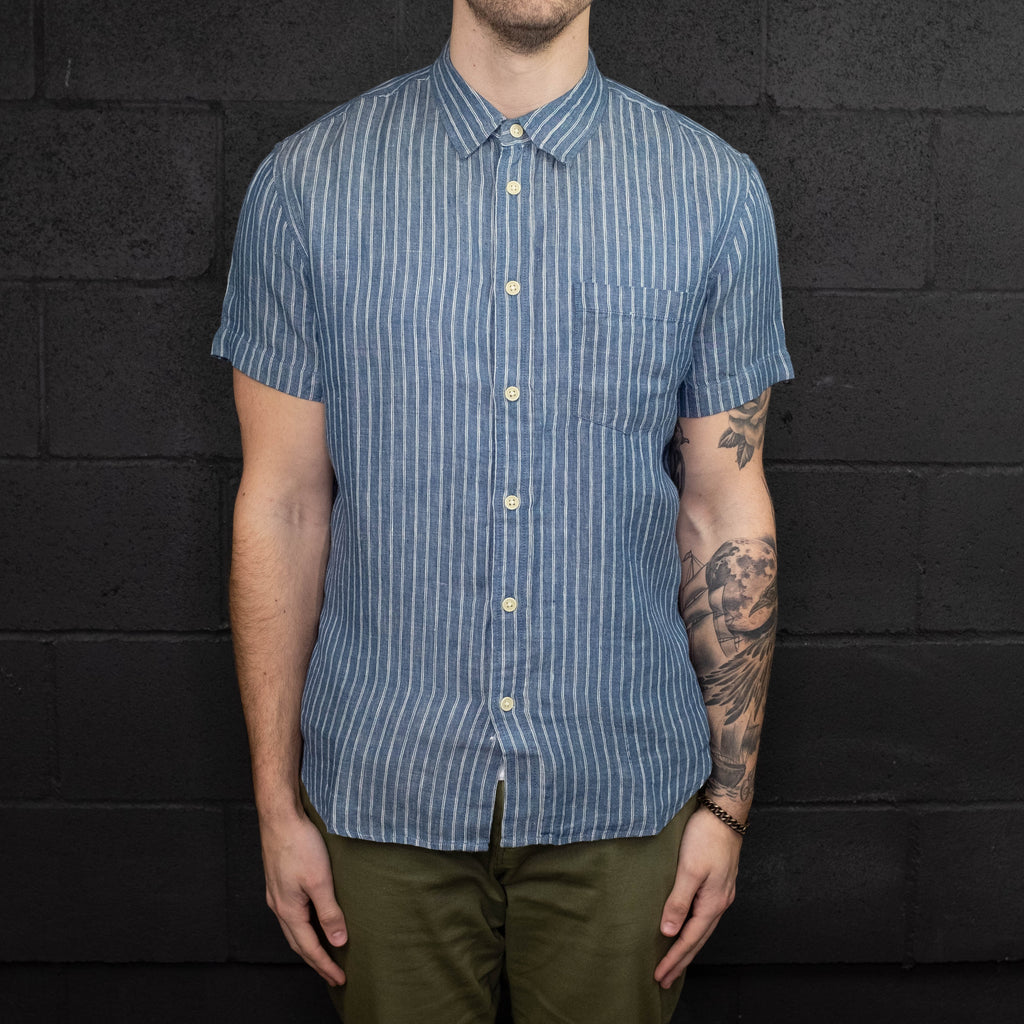 Corridor NYC - Blue Heavy Linen Stripe Short Sleeve Shirt - Foundry Mens Goods