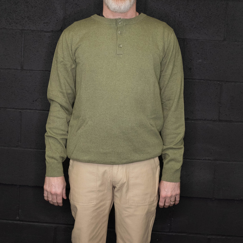 Schott NYC - SW1911 Cotton Henley Sweater Olive