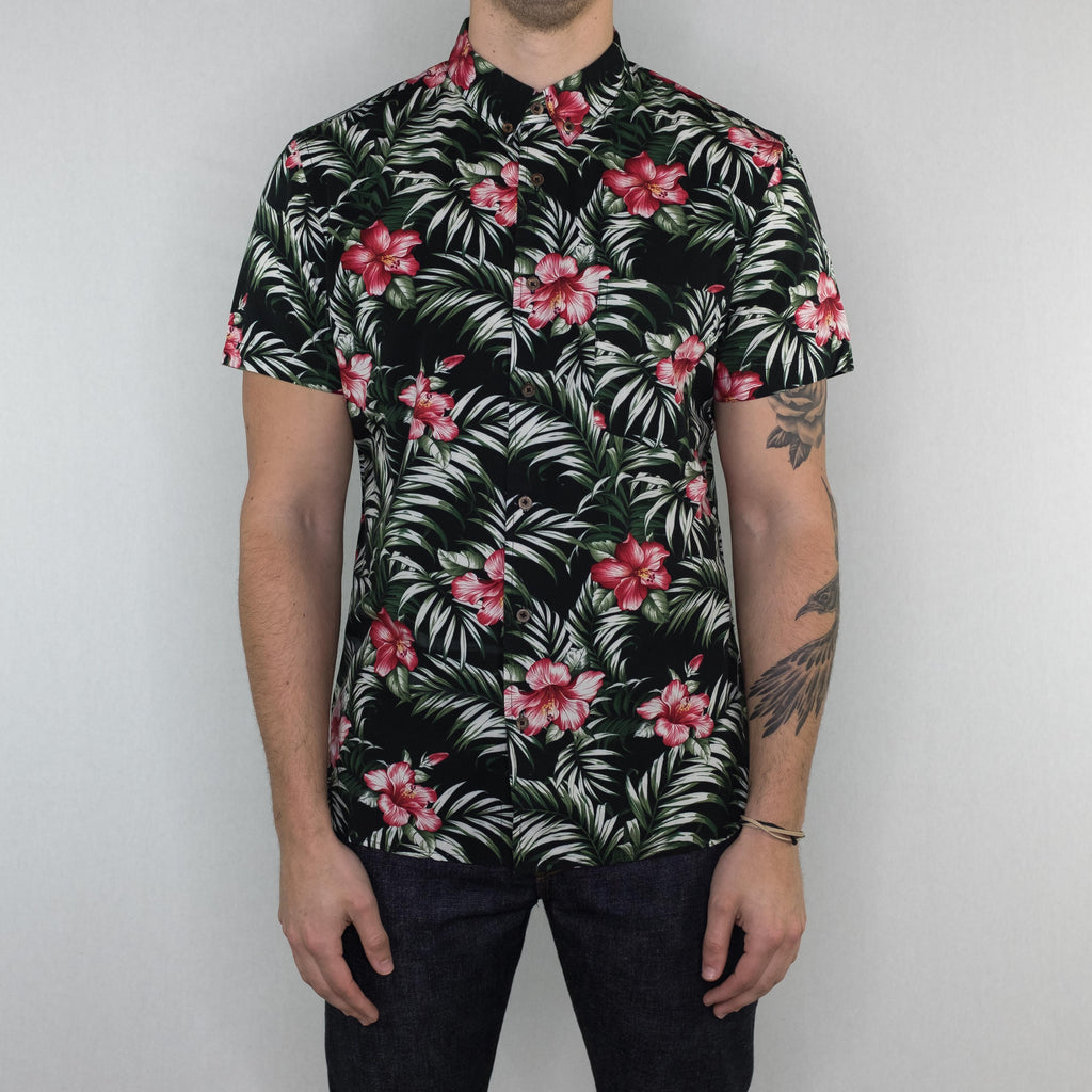 Kato - Bobbin Black Flower Slim Button Down Shirt - Foundry Mens Goods