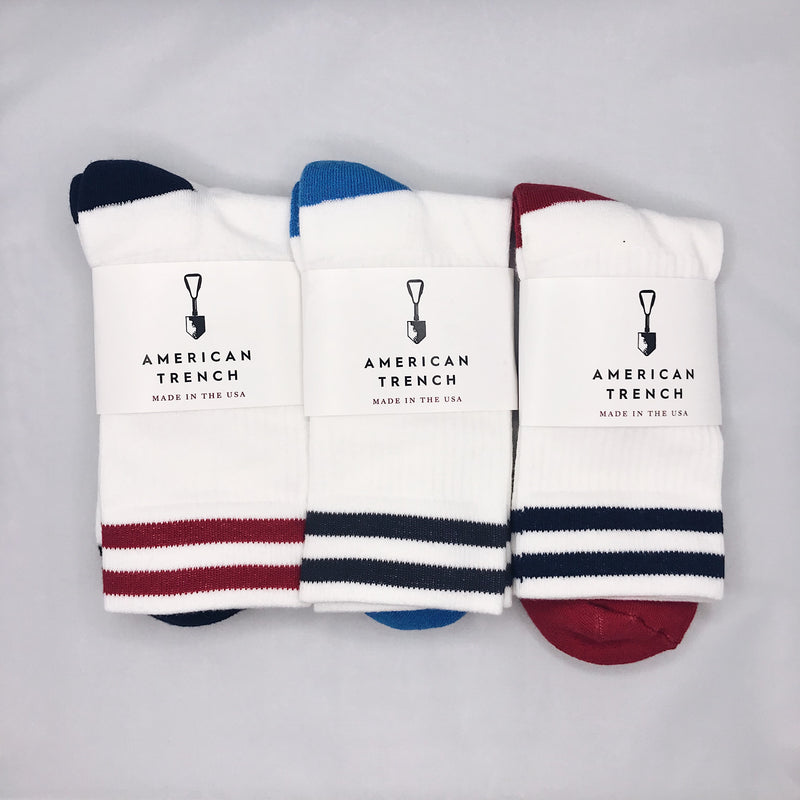 American Trench - Kennedy Lux Athletic Socks - Double Stripes - Foundry Mens Goods