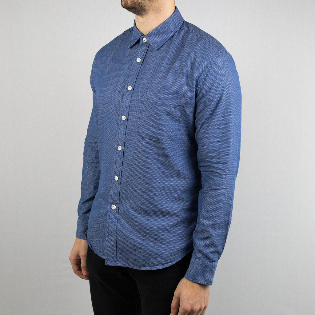 Corridor NYC - Micro Dot Denim Long Sleeve Shirt Blue - Foundry Mens Goods