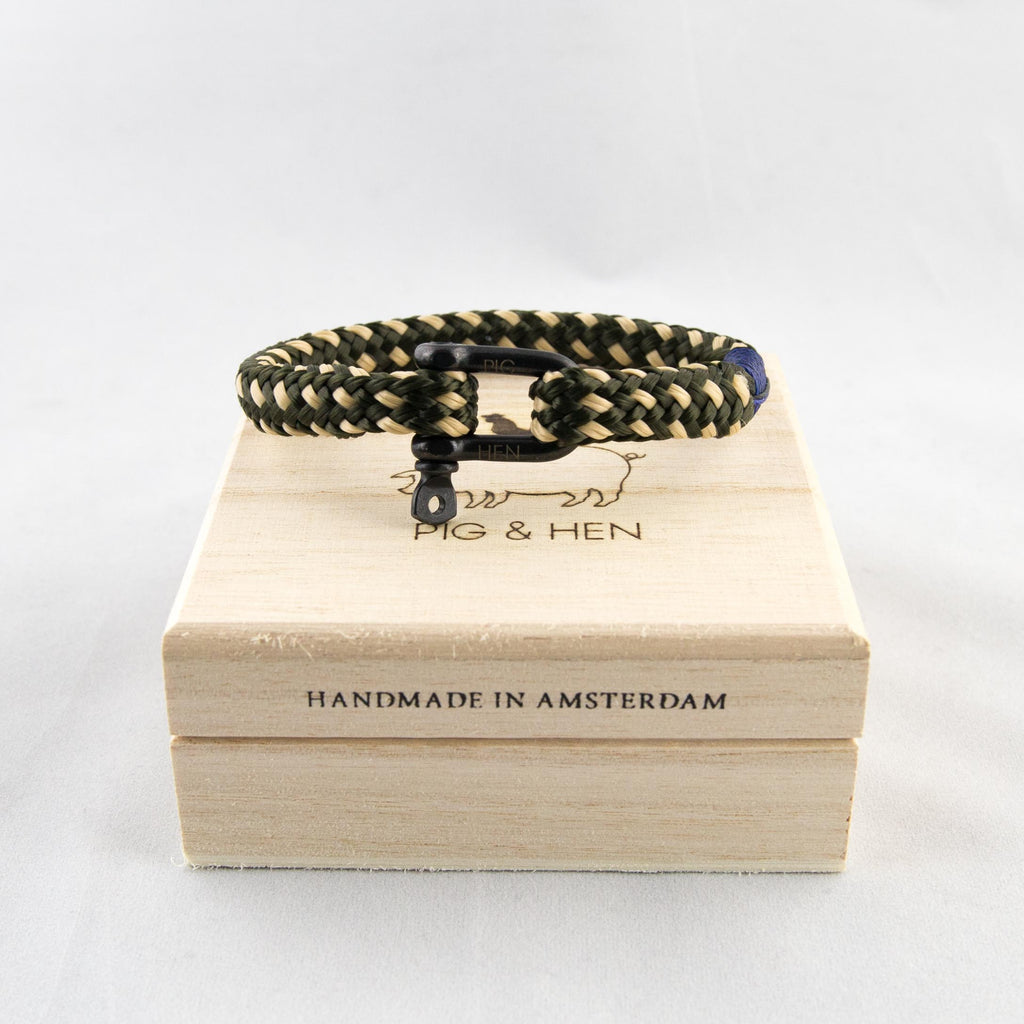 Pig & Hen - Hairy Harry Bracelet Army/Sand - Foundry Mens Goods