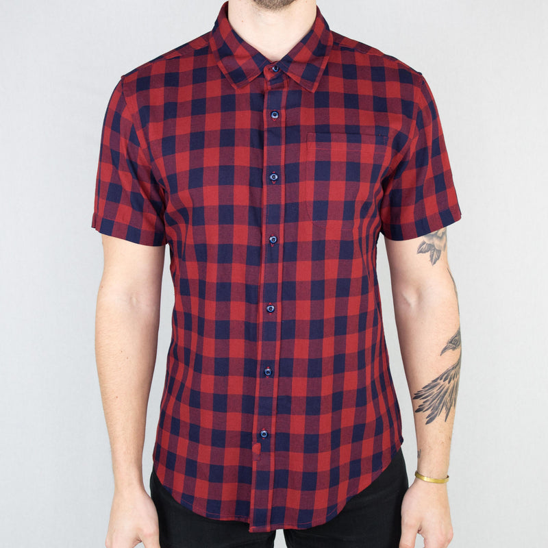 Bridge and Burn - Harbor Short Sleeve Shirt Indigo Gingham - Foundry Mens Goods