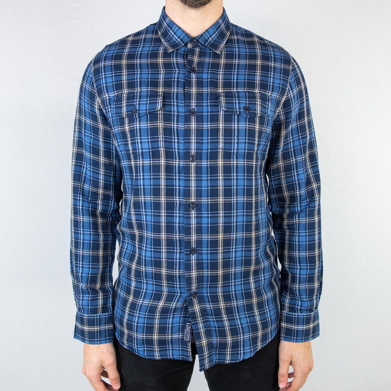 Grayers - Lloyd Double Cloth Shirt Navy Blue Plaid - Foundry Mens Goods
