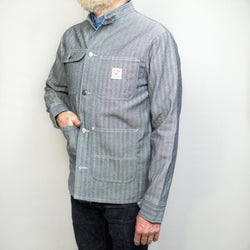 LC King - Fisher Stripe Chore Coat Banded Collar - Foundry Mens Goods