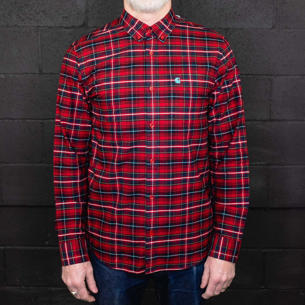 Carhartt WIP - Patton Shirt Long Sleeve Blast Red - Foundry Mens Goods