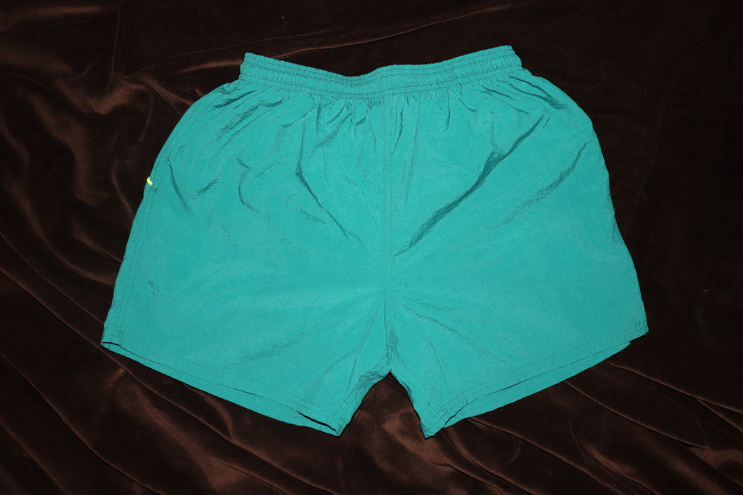 TEAL LETTER PRINT TRUNKS