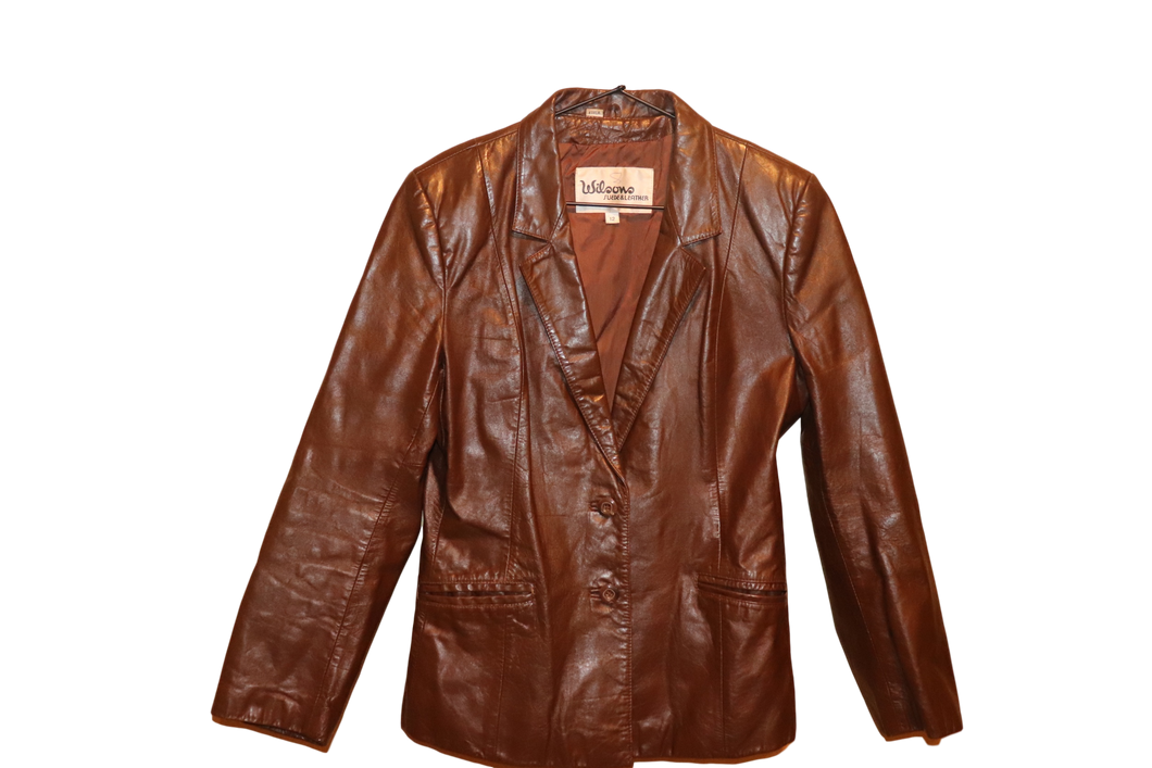 CHOCOLATE LEATHER BLAZER