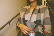 PLAID RED AND BLACK LINEN BLAZER