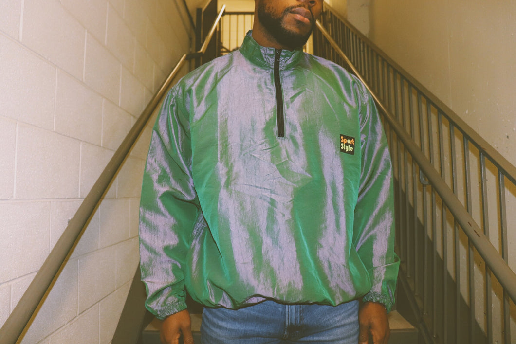 UNISEX IRIDESCENT GREEN HALF ZIP WINDBREAKER