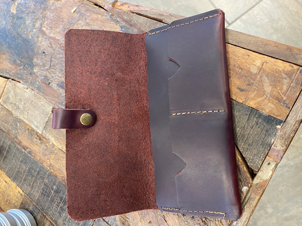 In Blue Handmade Leather Rancher Wallet