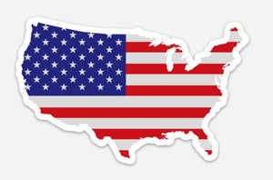 USA Flag Map Sticker