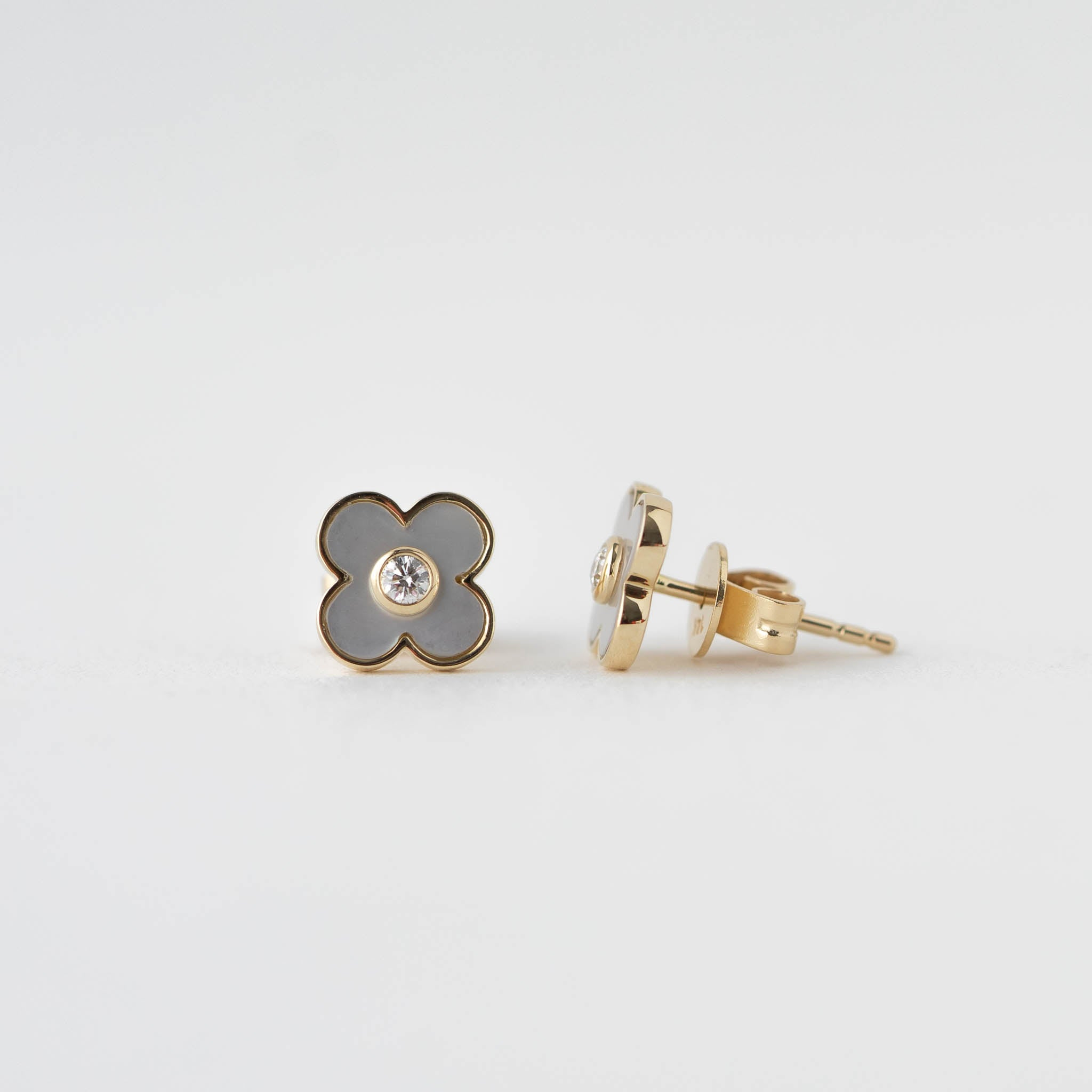 Alexis Mother of Pearl and Diamond Clover Earrings