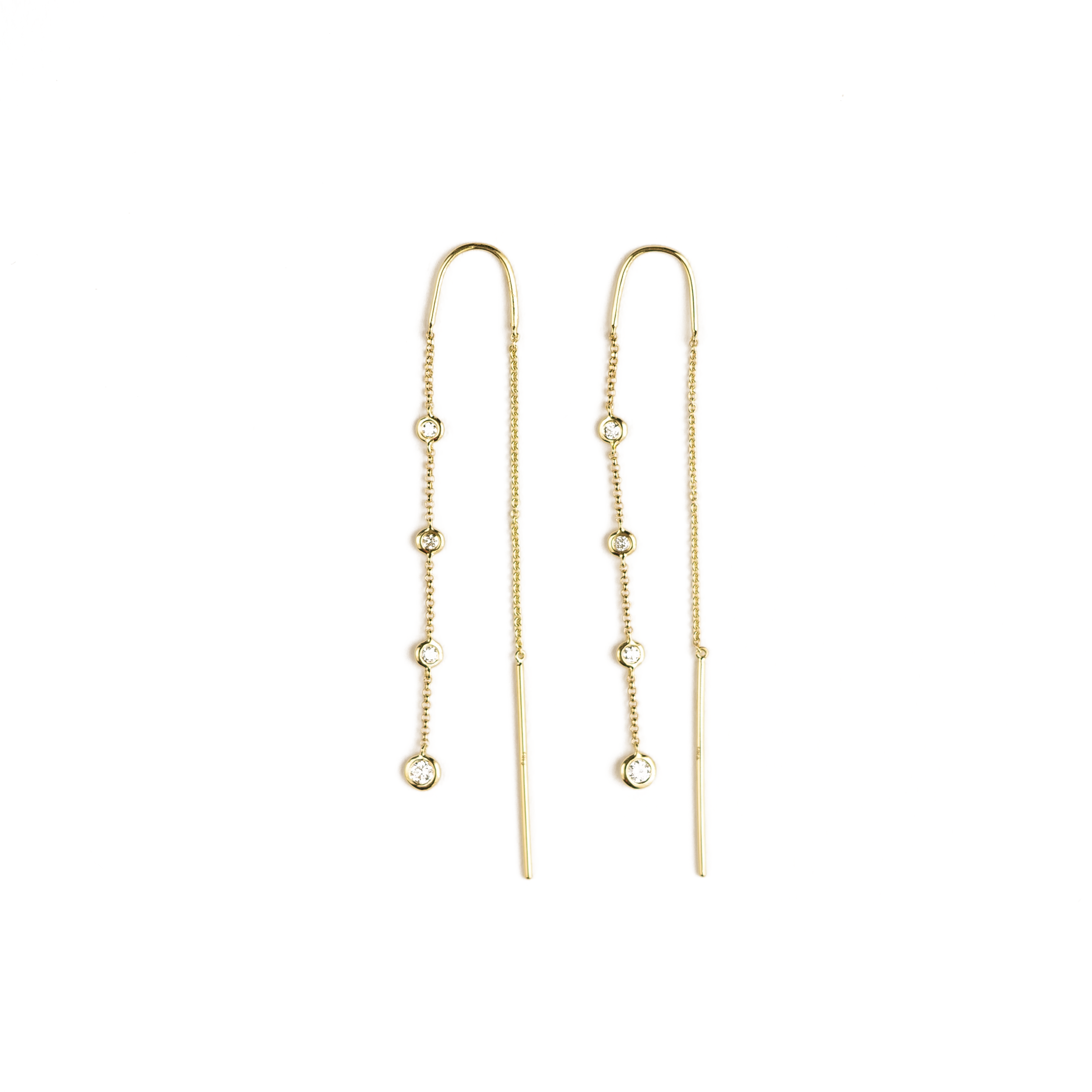 Lydia Dangling Bezel Chain Earrings