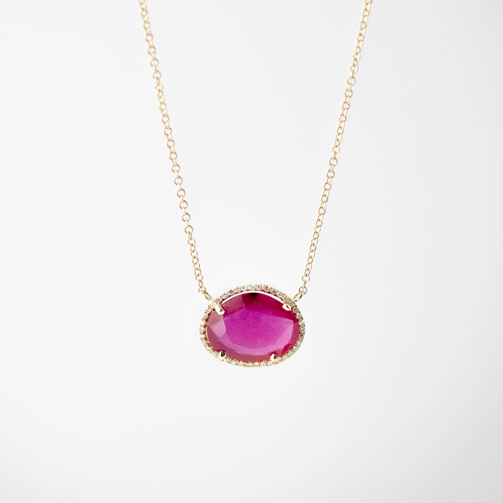 Madeline Faceted Ruby and Diamond Necklace
