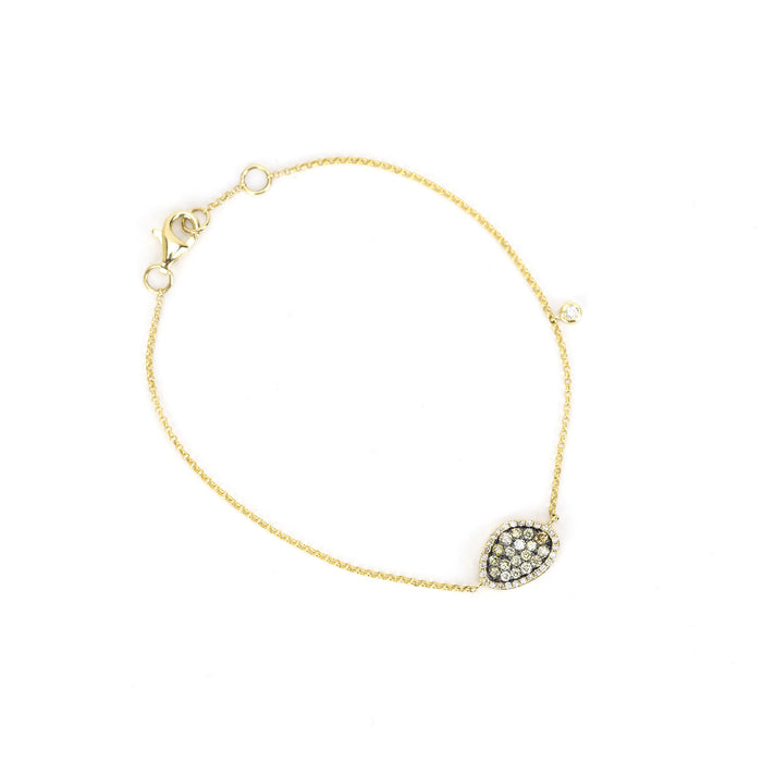 Champagne and White Diamond Meteorite Bracelet by Atheria Jewelry