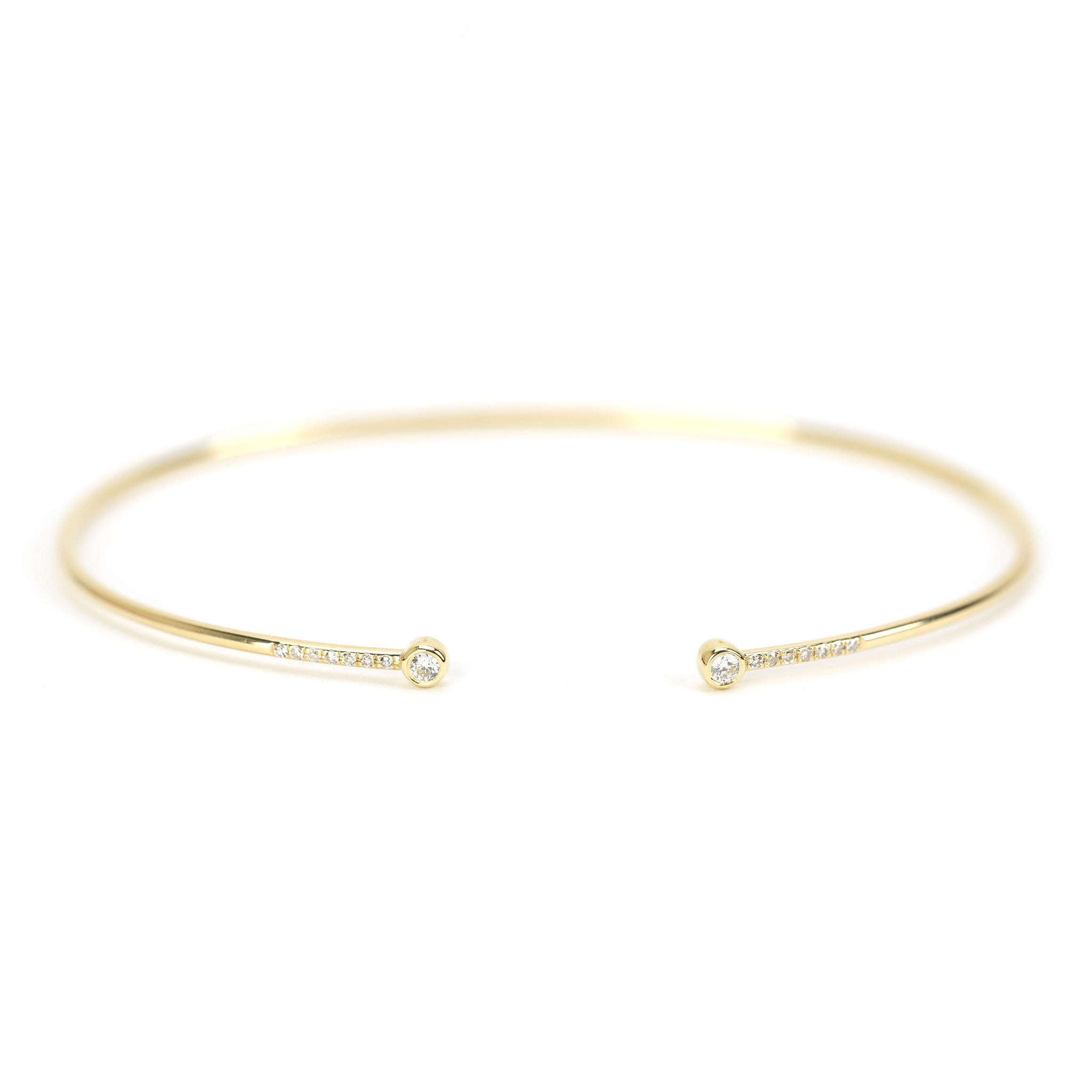 Diamond Bezel Open Cuff Bangle by Atheria Jewelry