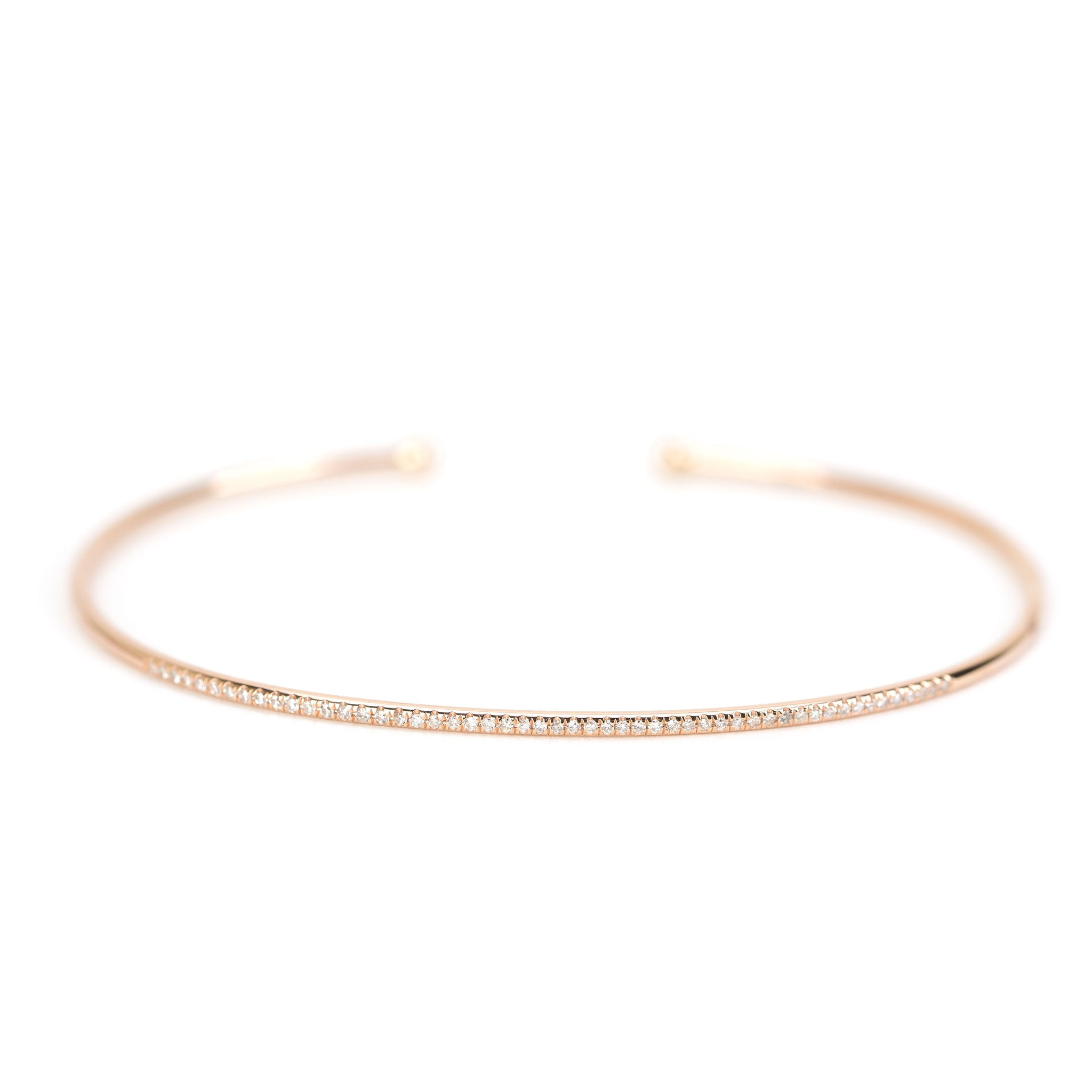 gold round bangle open bracelet in bracelets pave white diamond vintage img bangles estate