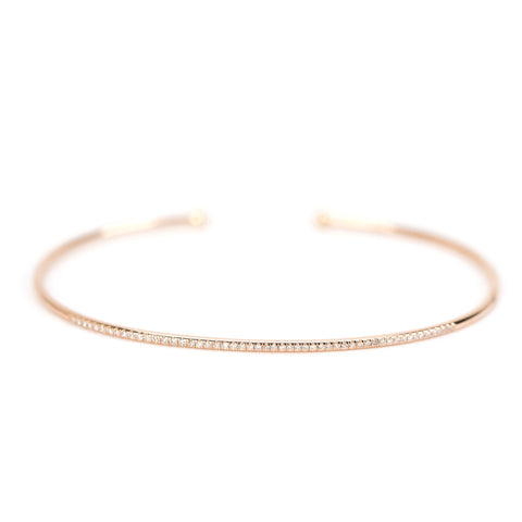 Diamond Reverse Open Cuff Bangle by Atheria Jewelry