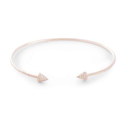 Diamond Spike Open Cuff Bangle by Atheria Jewelry