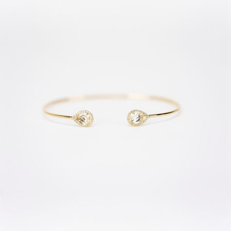 White Topaz  Open Cuff Bangle by Atheria Jewelry