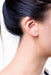 White Gold Minimalist Ear Loops on Model