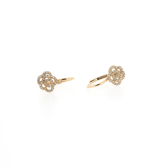 Camellia Diamond Flower Earrings by Atheria Jewelry