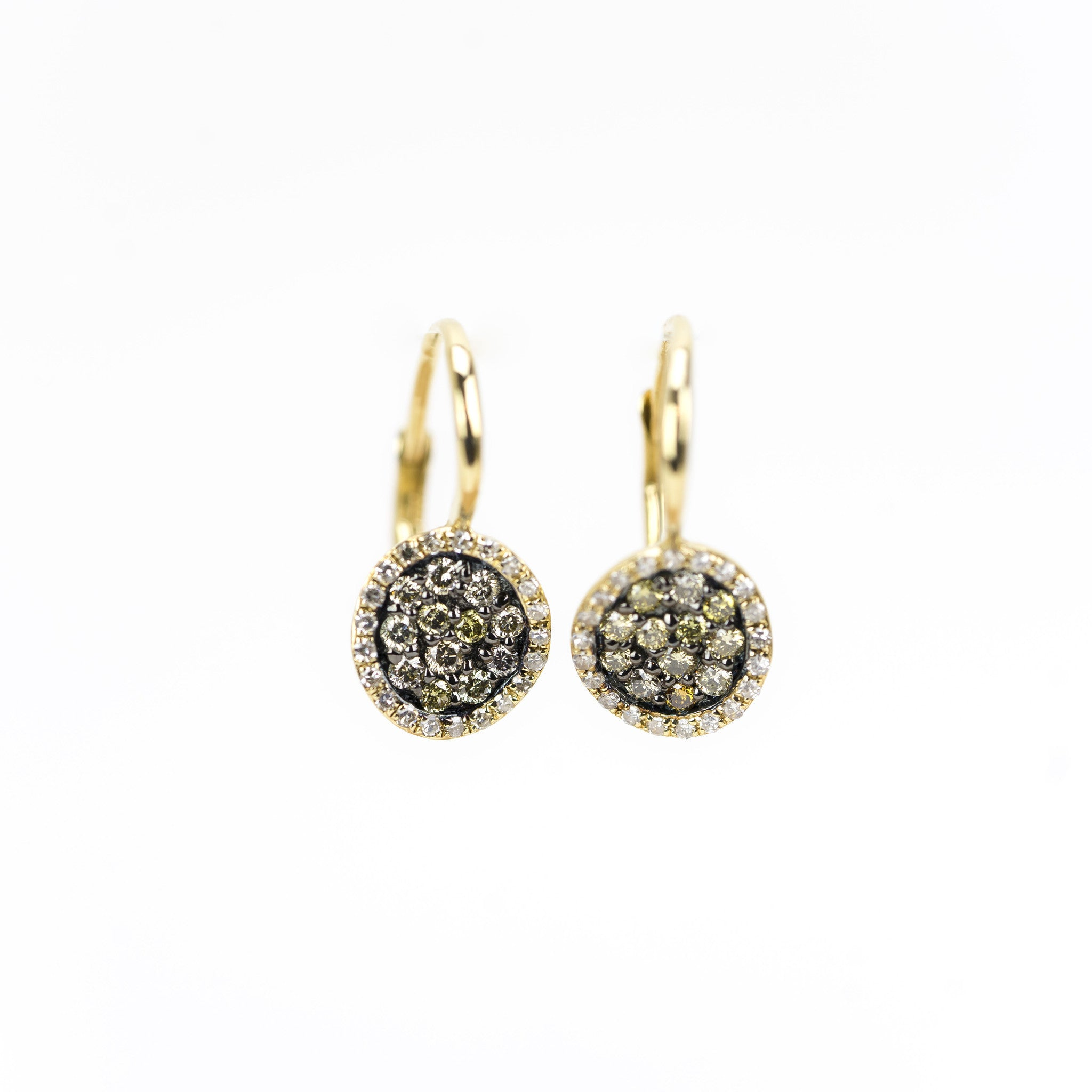 Champagne and White Diamond Meteorite Earrings by Atheria Jewelry