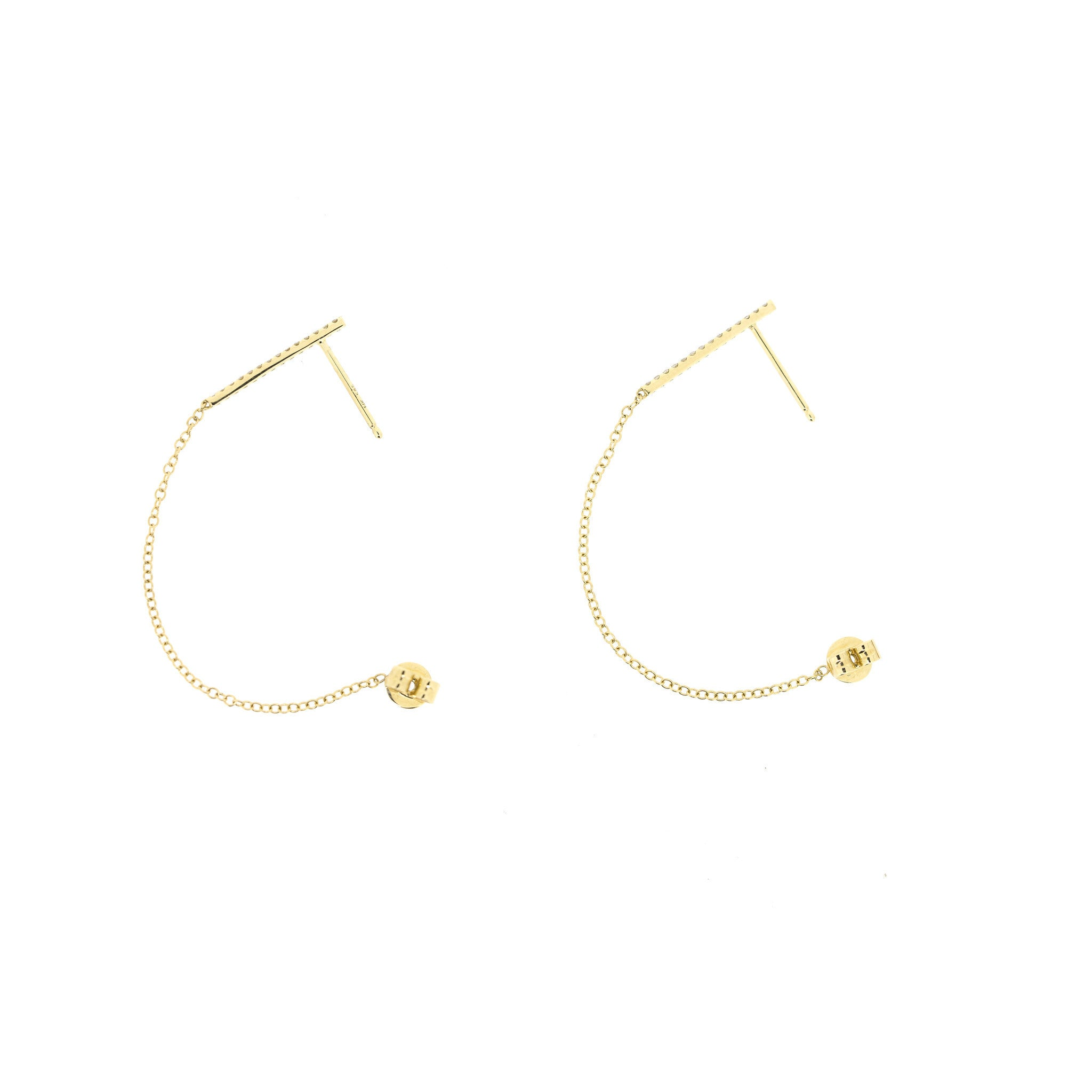 Diamond Bar + Chain Earrings by Atheria Jewelry