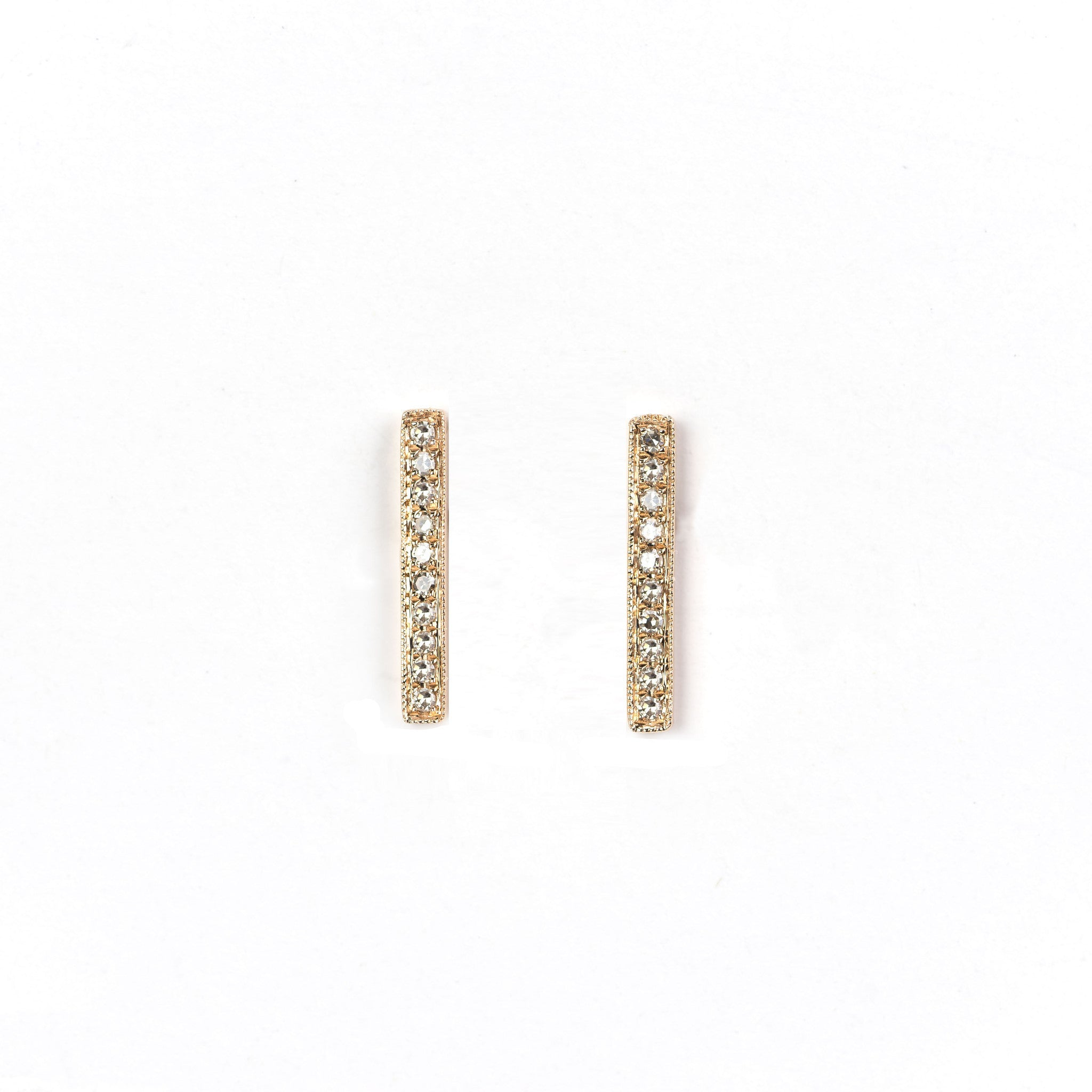 Diamond Bar Earrings by Atheria Jewelry