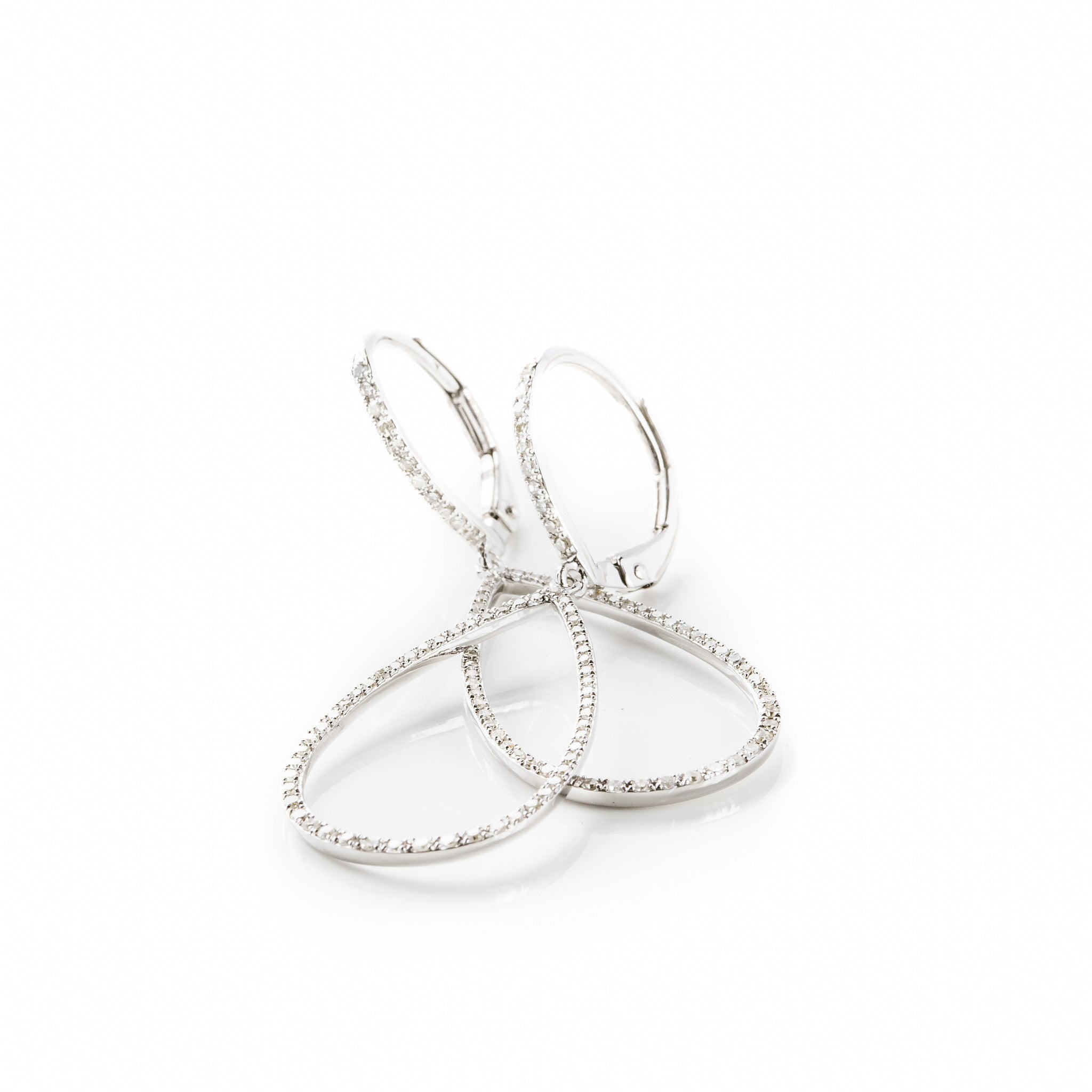 Diamond Teardrop Hoop Earrings by Atheria Jewelry